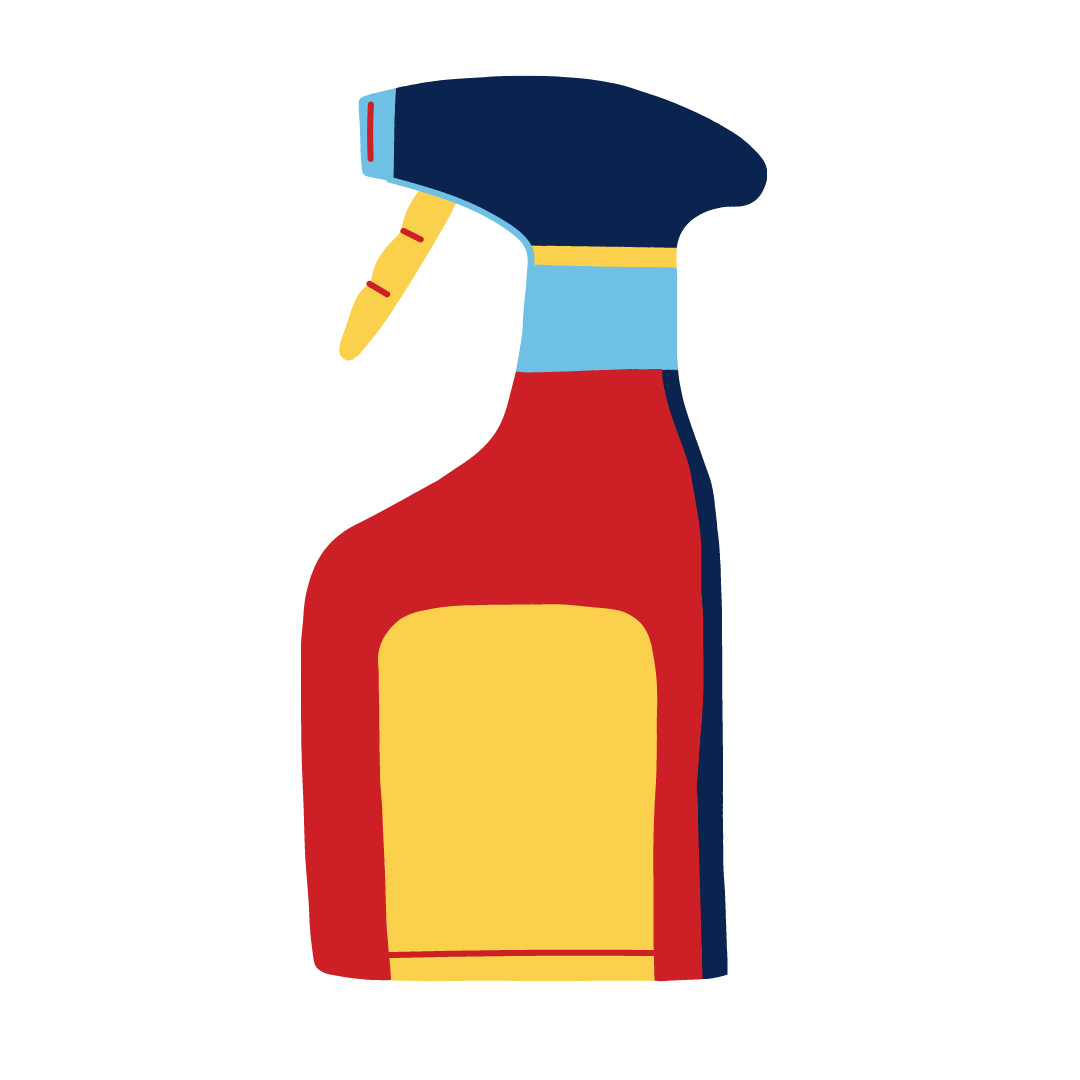 Red, blue yellow bottle